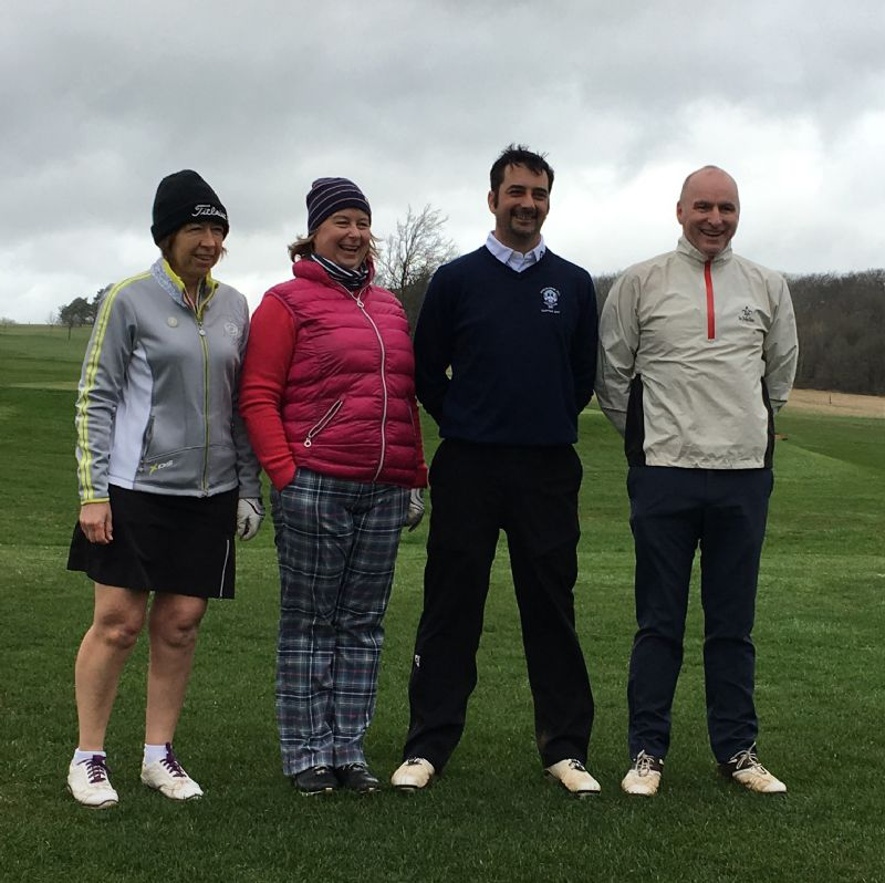 From left, Stinchcombe Hill ladies' vice-captain Bev Rees, ladies' captain Kirsty Thomson, men's captain Nigel Hudson and vice-captain Rod Helps