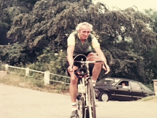"""Jim Riches at the age of about 55. It was sent to The Local Answer by his daughter Terina, who added: """"It was after a steep climb of about a mile and a half. Needless to say I used to hate going out on the bike with him as he wouldn't let me get off"""