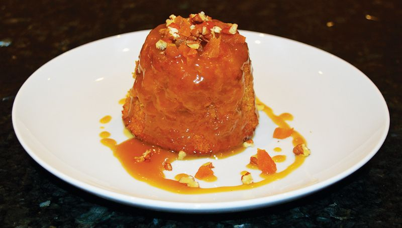 Apricot sponge pudding with caramel sauce