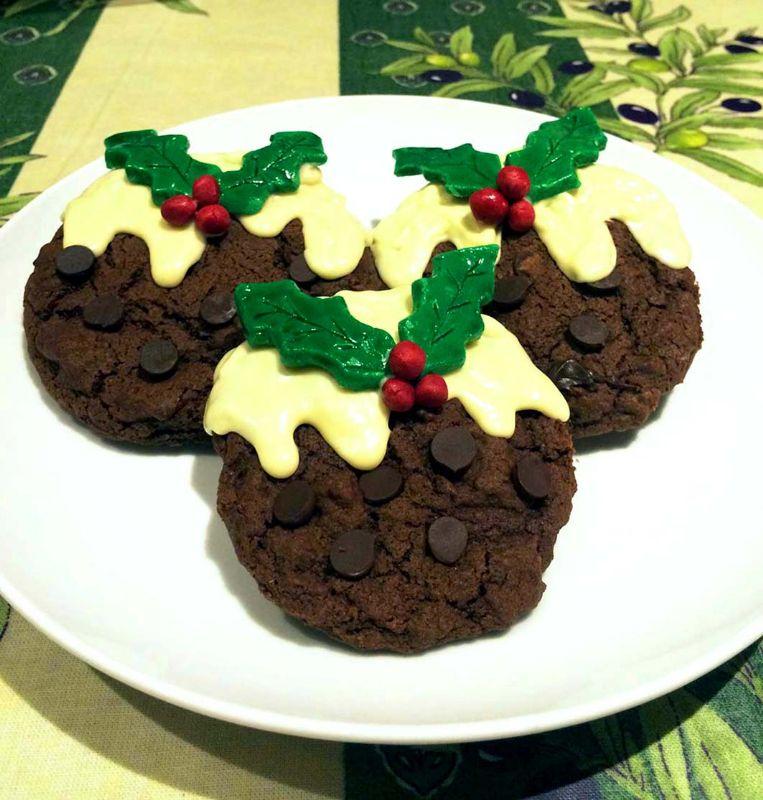 Triple Chocolate Christmas Pudding Cookies