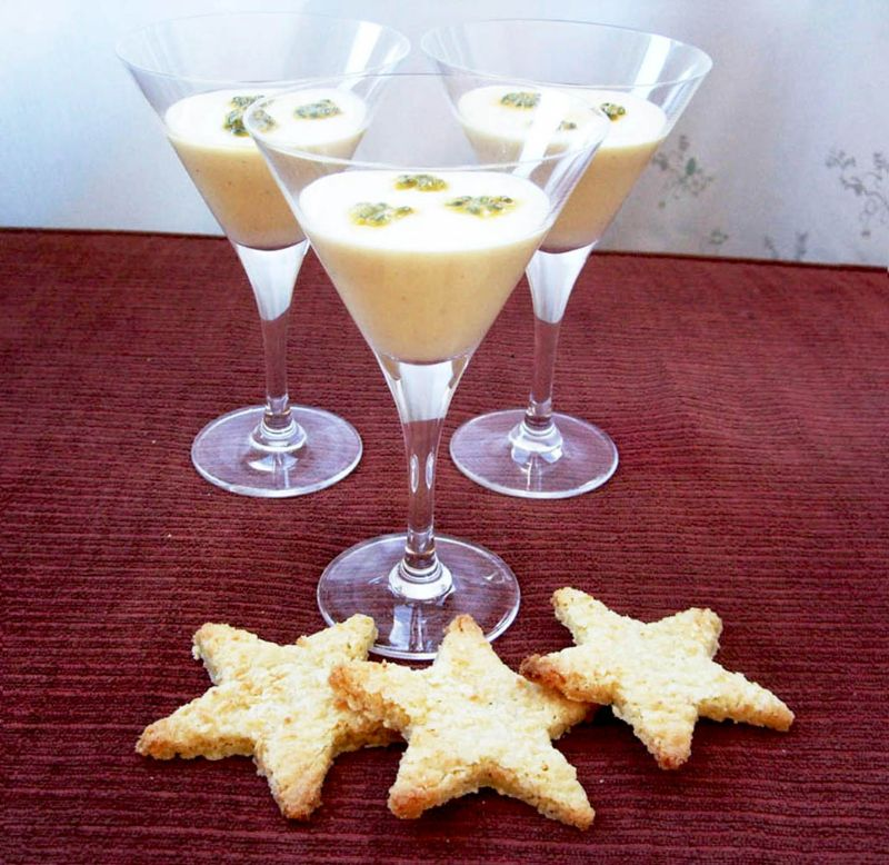 Passion fruit pots with coconut stars
