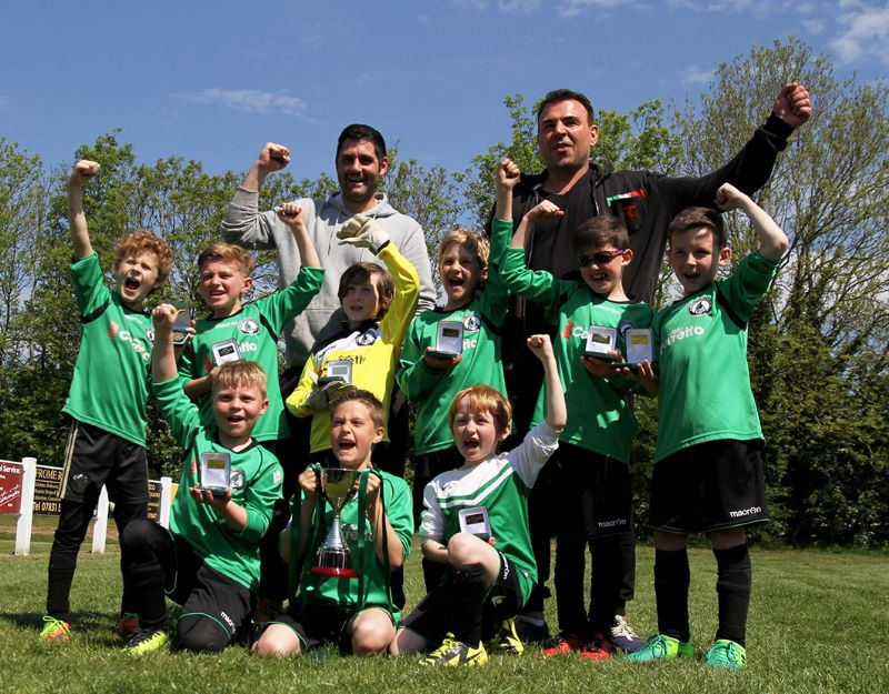 Bishop's Cleeve Rovers under-8s celebrate their cup win