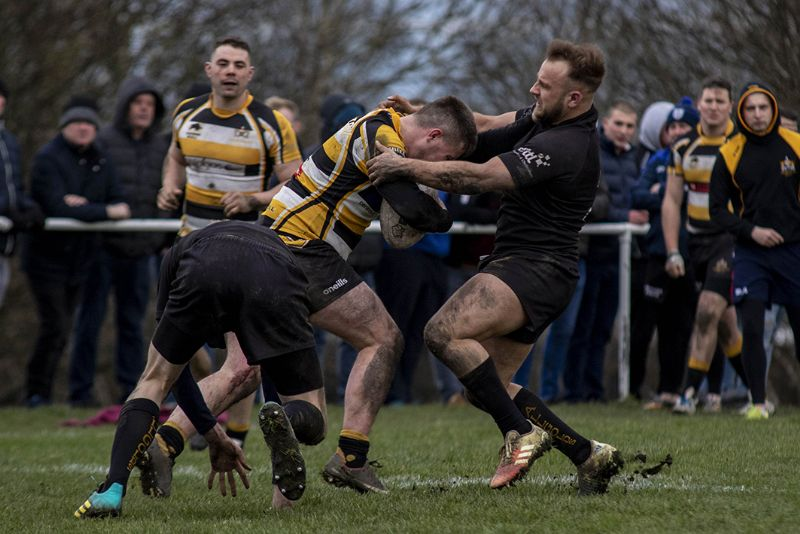 Luke Kell gets to grips with an opponent. Picture, Lewis Mitchell Photography