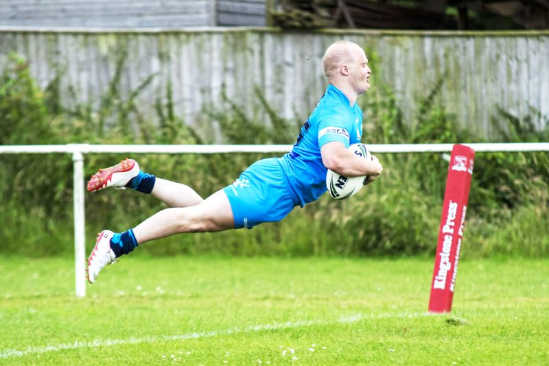 James Royle flies in to score for the All Golds. Picture, Lewis Mitchell Photography