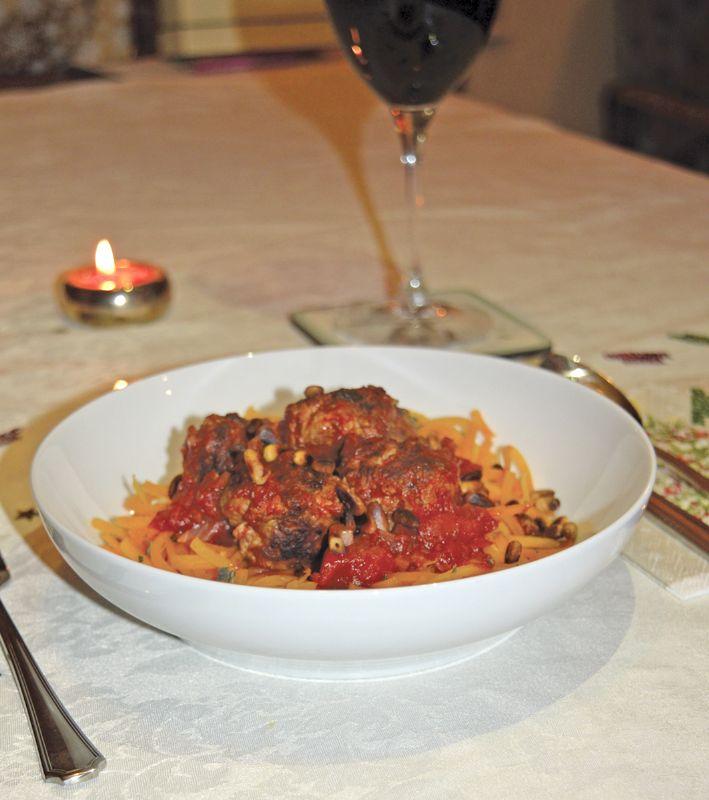 Turkey meatballs and butternut squash noodles