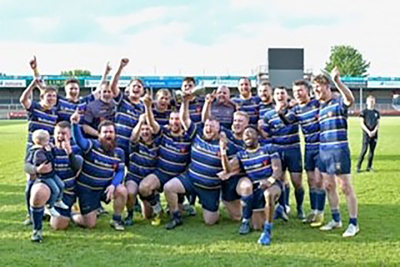 Old Centralians celebrate winning the North Gloucestershire Combination Senior Cup in May. Picture, Shaun Lafferty
