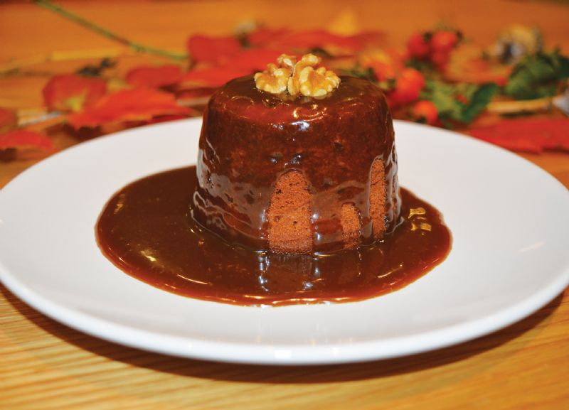 Toffee sponge puddings with toffee sauce