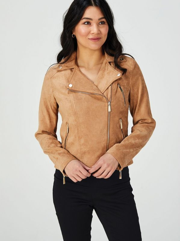 Woman in Ruth Langsford QVC faux leather biker jacket