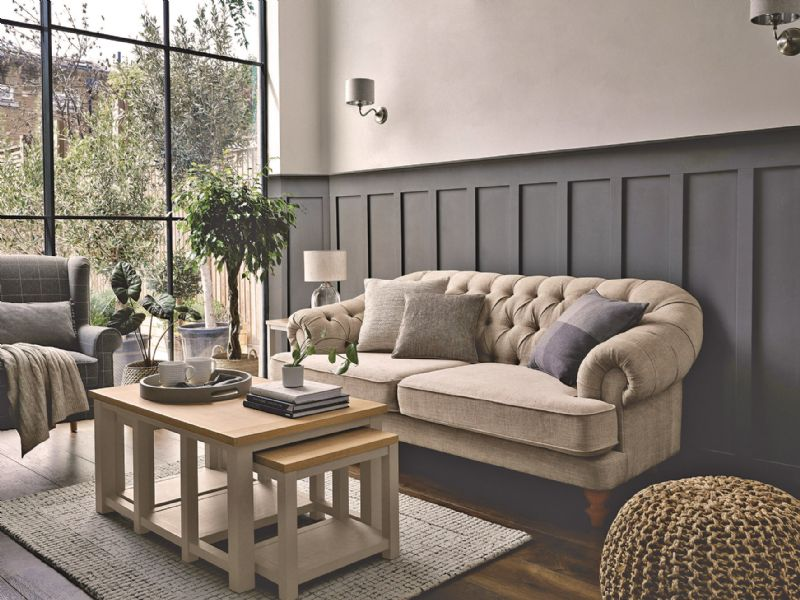 Nordic style living room lounge cosy wooden furniture green plants