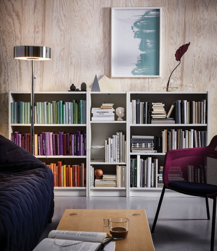 Living room bookshelf skandi japandi
