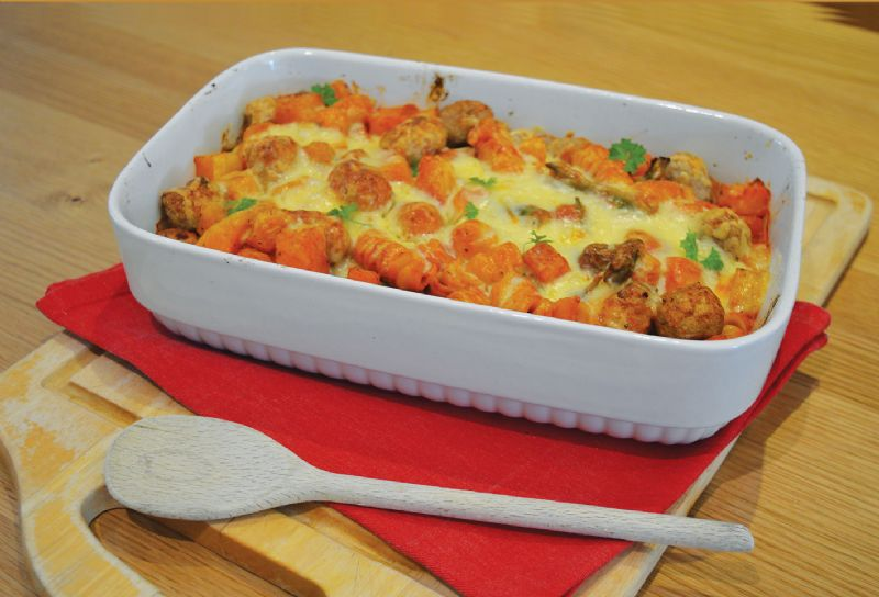 Sausage and pasta bake butternut squash broccoli cheese