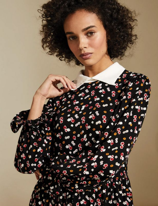 Floral top dress young woman