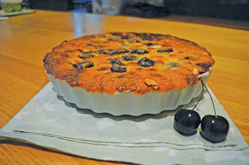 Fresh cherry Bakewell dessert