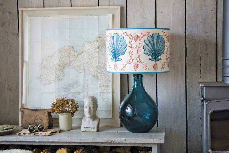 Modern coastal interior design lampshade living area
