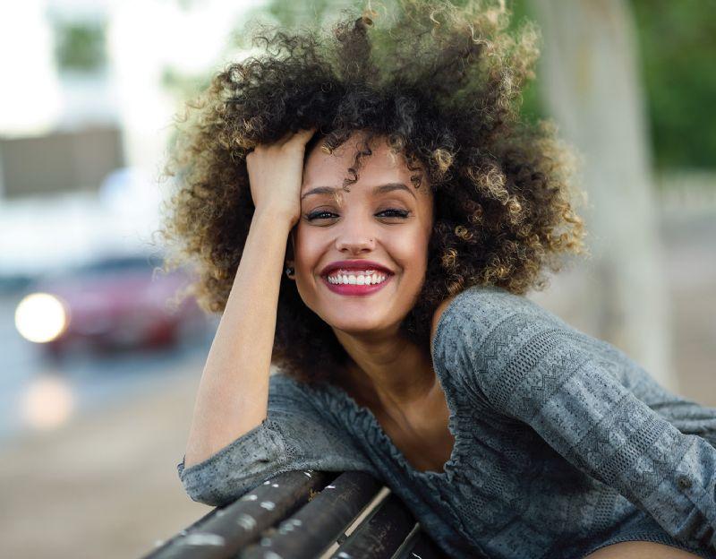 Woman smiling lipstick